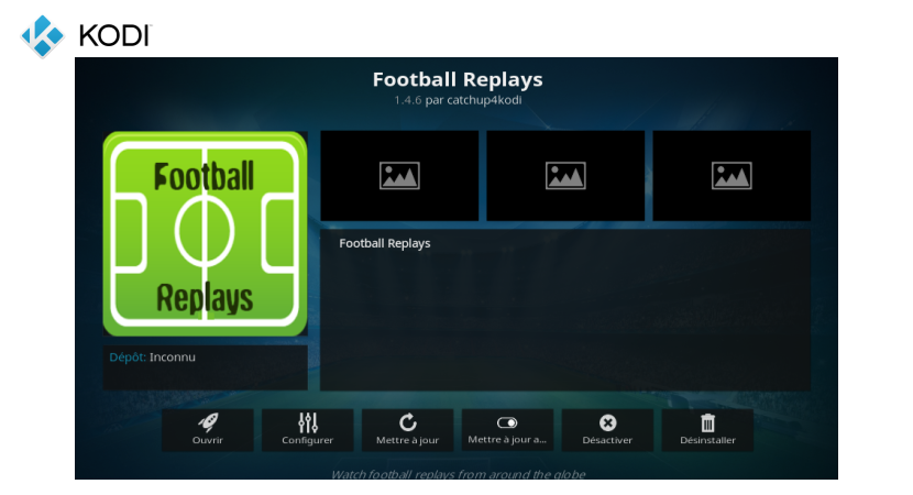Extension Football Replays Add-on Kodi - IPTV Gratuit